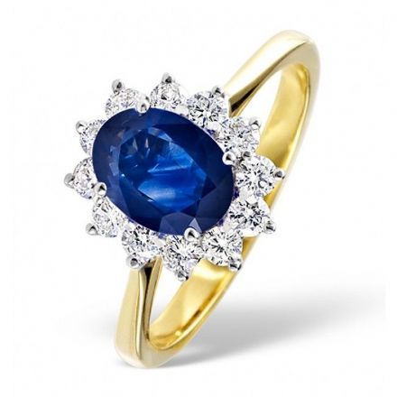 18K Gold 0.50ct H/si Diamond & 1.55ct Sapphire Ring, DCR04-S